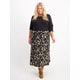 Womens Plus Floral Maxi Pull On Skirt