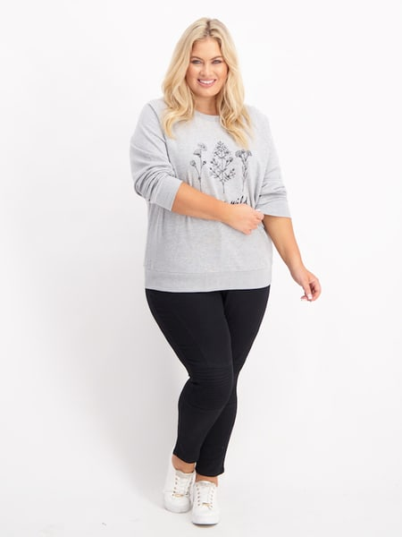 Womens Plus Printed Sweater