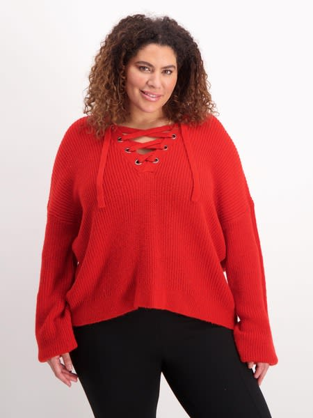 Womens Plus Eyelet Detail Knit Top