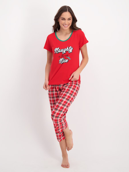 Womens Christmas 3/4 Knit Pj Set