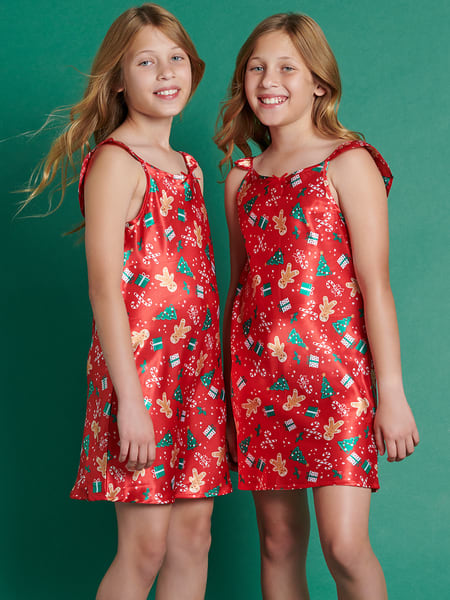 Girls Satin Christmas Nightie