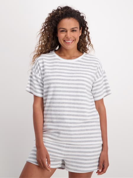 Womens Stripe Terry Towelling Tee