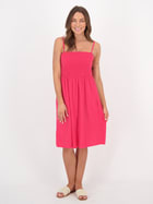 Womens Shirred Bust Cotton Dress