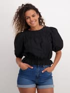 Womens Puff Sleeve Waisted Blouse