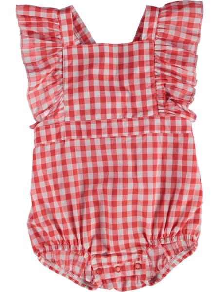 Baby Gingham Romper With Ruffles
