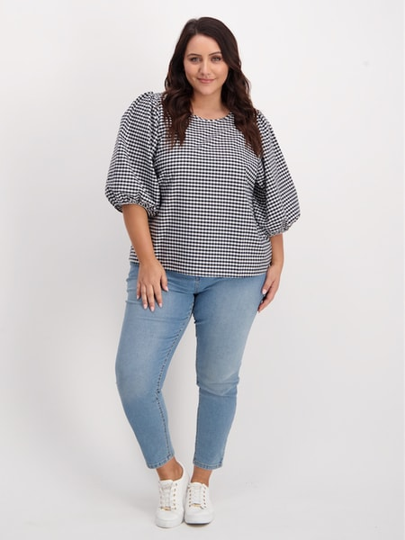 Womens Plus Puff Sleeve Top