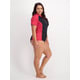 Womens Plus Cap Sleeve Colour Block Rash Vest