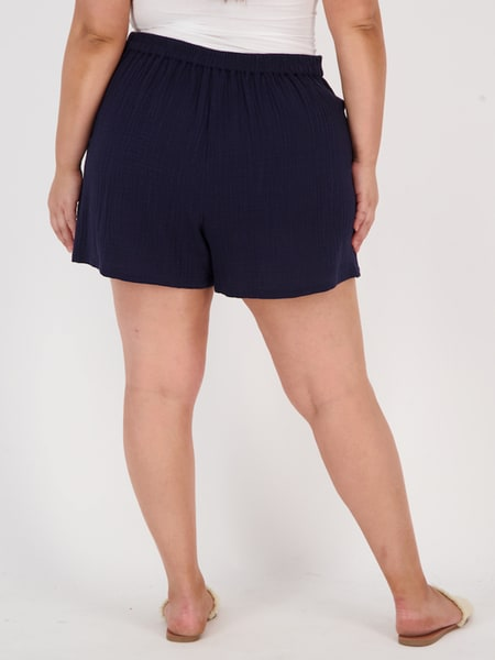 Womens Plus Crinkle Cotton Pocket Short