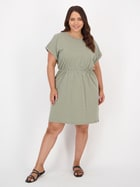 Womens Plus Short Sleeve Elastic Waist Dress