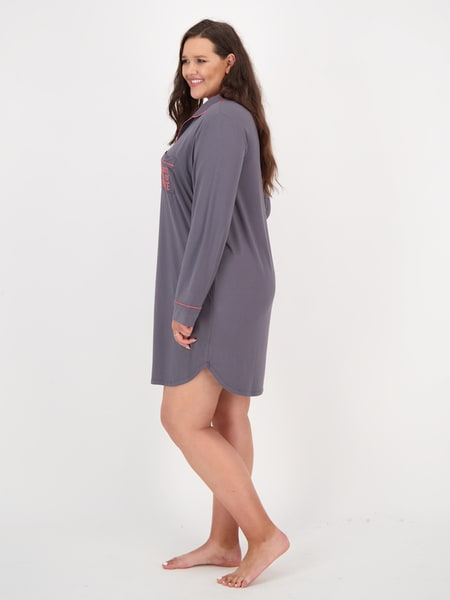 Womens Plus Long Sleeve Nightshirt Nightie