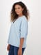 Womens V-Neck Short Sleeve Chambray Top