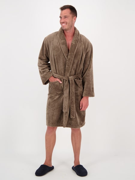 Mens Coral Fleece Dressing Gown