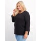 Womens Plus Organic Cotton 3/4 Sleeve Crew Neck