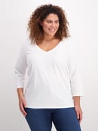 Womens Plus Organic Cotton 3/4 Sleeve V-Neck Top
