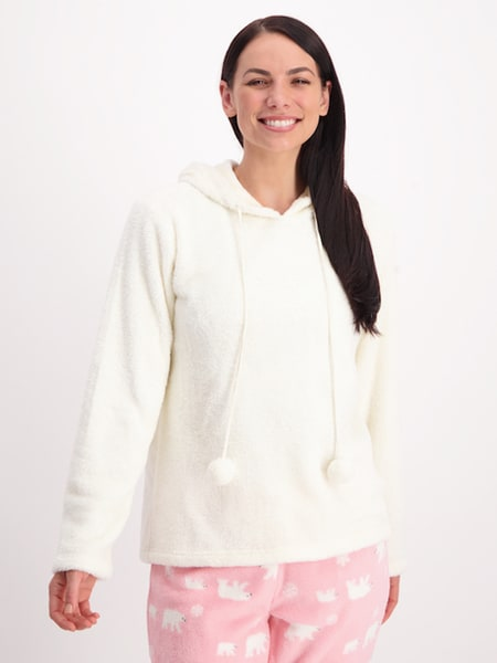 Womens Hooded Sleep Top With Pom Poms