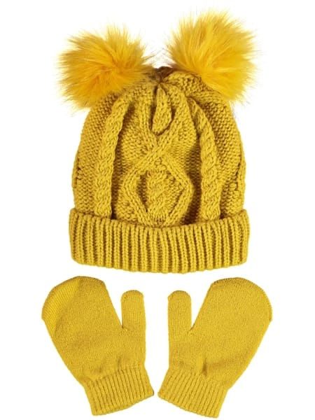 Toddler Girl Cable Pom Pom Beanie And Mitten Set