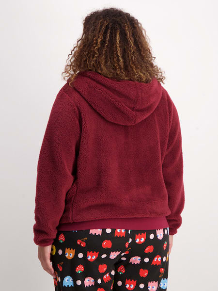Womens Fluffy Hooded Jacket With Pom Poms